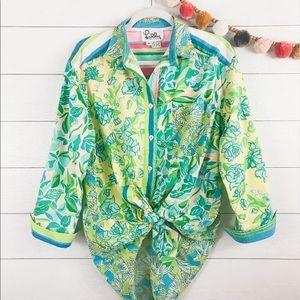 Lilly Pulitzer   VTG Tiki Hut Button Up Shirt